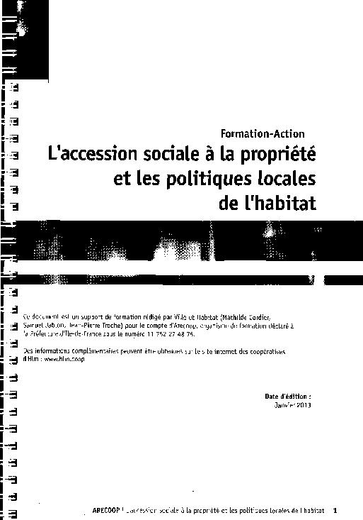 L Accession Sociale A La Propriete Et Les Politiques Locales De L