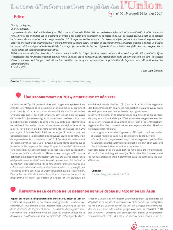 Lettre D Information Rapide De L Union N 99 Du 29 Janvier