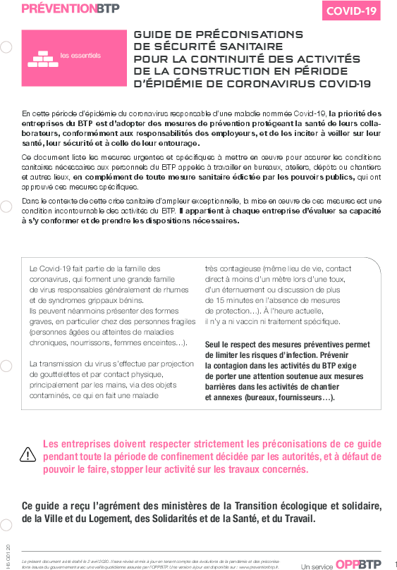 Vignette document Guide de préconisations de sécurité sanitaire pour la continuité des activités de construction en période d'épidémie de coronavirus Covid-19